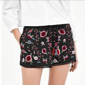 Zara Trf Embroidered Shorts